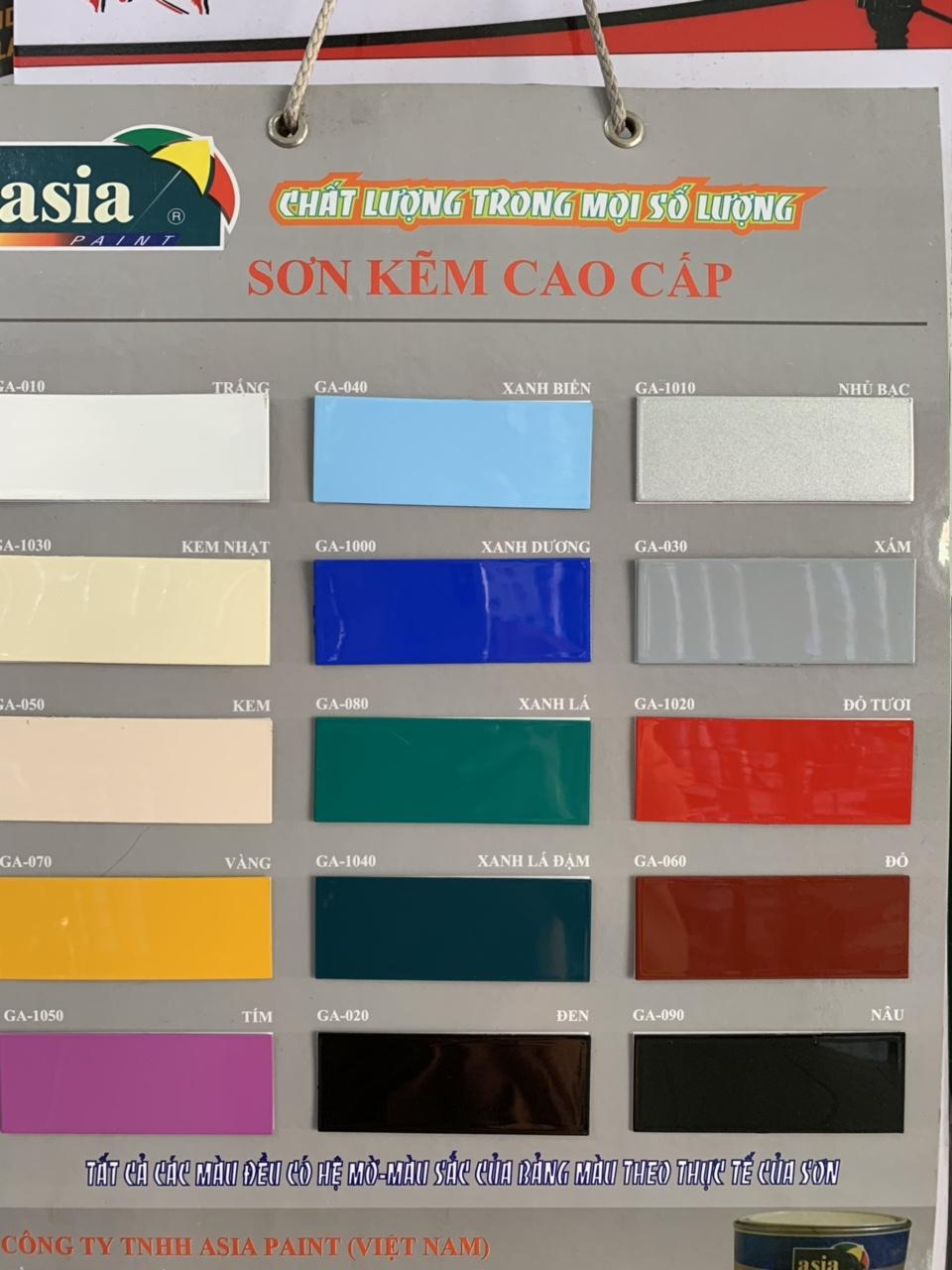 Bảng màu của sơn kẽm ASIA